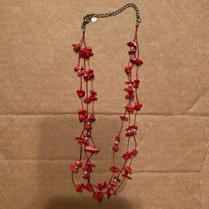 Red coral and freshwater pearl layer necklace